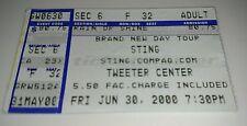 Sting Concert Ticket Stub June 3, 2000 Tweeter Center - Mansfield Ma