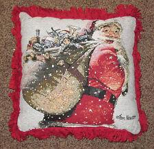 Vacaciones DESEOS ~ Clásico Papá Noel Navidad Tapiz Cuadrado Almohada ~ Tom