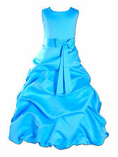 New Blue Turquoise Satin Bridesmaid Party Pageant Flower Girl Dress 8-9 Years
