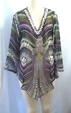BEACH WEAR GRAY BLACK LILAC GREEN BEADED NECK COVER UP TOP BLOUSE SHEER LARGE