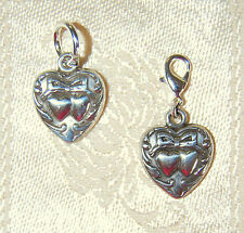 New romantic BRIGHTON clip-on VICTORIAN DOUBLE HEART charm !  FREE SHIPPING !!