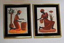 Haitian Caribbean Woman Small Basket Large Basket Foil Picture Set 2 Signed