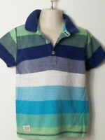 BOYS NEXT BLUE WHITE GREEN SHORT SLEEVE POLO T SHIRT CHILDRENS AGE 2-3 YEARS
