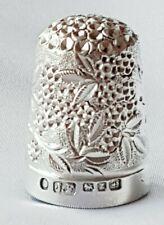 THIMBLE ~ Floral Design ~ Hallmarked Sterling Silver B'ham 1899 ~ James Fenton