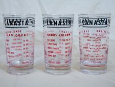 "3 Vintage 5"" Canasta Card Game Drink Glasses w/ Game Instructions 