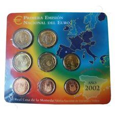 Euro Set  con los Euros de  España 2002 FNMT PRIMERA EMISIÓN NACIONAL DEL EURO