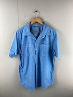 Go Lite Men's Short Sleeved Button Up Shirt Size L Blue