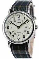 Timex TW2R51400, Unisex Weekender Plaid Strap Watch, Indiglo, 38MM Case