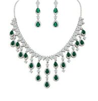 White gold finish pearcut green emerald and created diamond droplet necklace