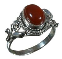 Handmade 925 Solid Sterling Silver Ring Natural Carnelian US Size 5.5 R1274