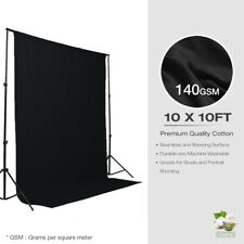 Cotton Photography Background 10 x 10ft Black Backdrop Photo Studio Wrinkle Free