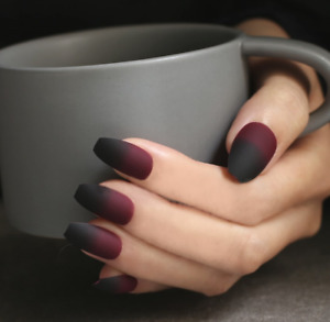 BALLERINA MATTE *FAIRY TALE* Black Burgundy Full Press On 24 Nail Tips + Glue!