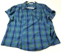 Cato Women Short Sleeve Top 26 28W Plus Blue Green Plaid Crossover Neck Stretch