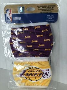 2 Pack Los Angeles Lakers Face Cover Officially Licensed NBA Basketball Masks