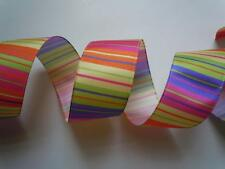 "5yd 2.5"" Spring Stripes Wired Ribbon Easter Multicolor Wreath Door hanger Craft"