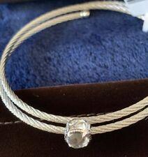 ALOR 14k White Gold & White Topaz Cable Coil Bracelet