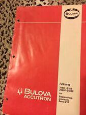 German language Bulova Accutron watch 218 Service Manual 2180 2180-F 2185 2183-F