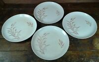 Set of 4 Dinner Plates Gold Wheat on White Japan Pottery Dinnerware