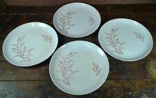 Set of 4 Dinner Plates Gold Wheat on White Japan Pottery Dinnerware