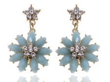 Charm Golden Tone Royal White Rhinestone Pastel Blue Bead Vogue Earring Jewelry