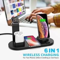 Qi Inalámbrico Cargador Dock de 6 en 1 para i Watch iPhone 12 Airpod Samsung FE