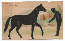 Wonderful 1908 Watercolor Folk Art Silhouette on Paper of Man and Horse