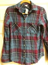 AEROPOSTALE Women Size XS Plaid Flannel Button Front Blue Red NWT
