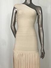 NWOT Authentic Herve Leger One Shoulder Cream Beige Long Gown Dress Small