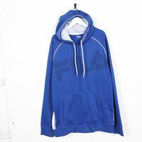 Vintage FILA Big Logo Spell Out Polyester Hoodie Sweatshirt Blue | XL