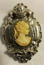 Vintage Silver Tone Carved Cameo, Crown Brooch Pin Pendant