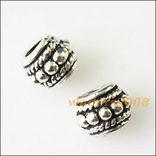 18 New Barrel Tibetan Silver Spacer Beads fit Charm Bracelets 8mm