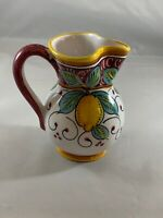 Vintage Hand Painted Made in Italy Small Pitcher * Red & Yellow Lemons * (C4)