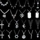 Fashion Women 925 Silver Plated Jewelry Necklace Flower Pendant Clavicle Chain