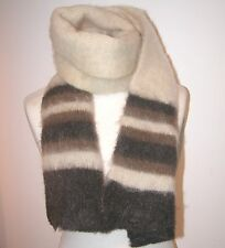 "VINTAGE fuzzy cream/browns stripe 100% wool SCARF  13 1/2"" X 44"""
