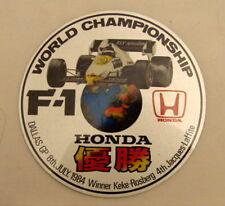 Etiqueta engomada de campeonato mundial de F-1 Original Honda 1984 Dallas G.P Rosberg 2nd tipo