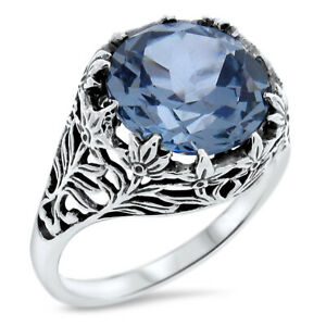 VICTORIAN ANTIQUE STYLE .925 STERLING SILVER SIM AQUAMARINE RING SIZE 8     #738