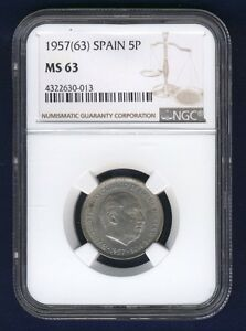 SPAIN 1957 (63) 5 PESETAS COIN, CHOICE UNCIRCULATED, NGC CERTIFIED MS-63