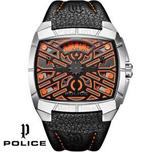 Police PL.14796JS/61A G Force silver orange black Leather Men's Watch NEW