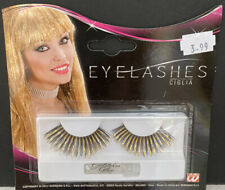 Gold and Black Streaked Eyelashes with glue for Halloween - FREE POSTAGE
