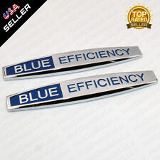 2x Blue Efficiency Side Fender Skirts Sticker ABS Badge Logo Emblem Decoration