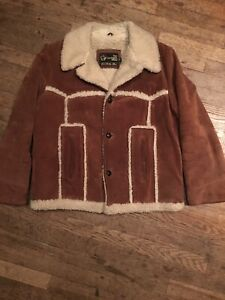 Vtg 60s 70s Rough Suede Leather Sherpa Jacket Mens 40 Marlboro Man Coat Fleece