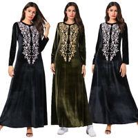 Velvet Abaya Women Muslim Maxi Dress Jilbab Kaftan Islamic Prayer Dubai Dresses