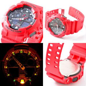 Casio G-Shock Men'S Watch GA-100B-4AER Red Resine Robust Protection Sport