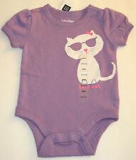 New babyGAP Size 0-3 Months Purple Cool Cat Short Sleeve Snap Crotch Bodysuit