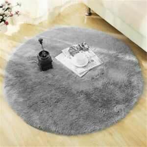 Fluffy Round Rug Carpet For Living Room Decor Faux Fur Long Plush Bedroom Mats