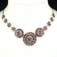 Sterling Silver 925 Genuine Natural Garnet Cluster Design Drop Necklace 20 Inch