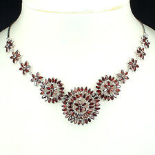 Sterling Silver 925 Genuine Natural Garnet Cluster Design Drop Necklace 20 Inch