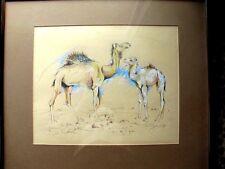 Original Framed & Matted Art, 2 Camels, Pastel & Pencil, signed Feininger
