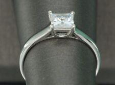 1ct Carat D SI Diamond Engagement Ring Princess Cut 18K White Gold Enhanced
