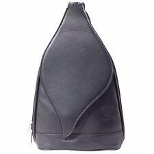 LEATHER, Italian Leather Backpack, Leaf Shape, Black